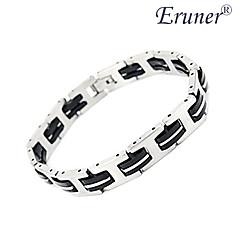 eruner® män mode kiselgel och titan stål armband