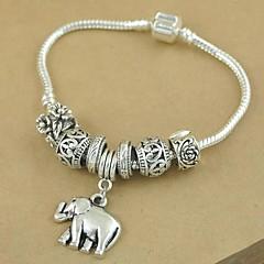 1PCS Fashion National Wind  Carved Beads Silver Elephant Bracelet