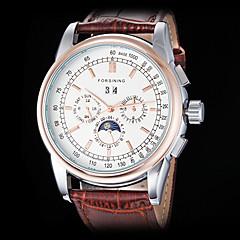 auto-mécanique six pointeurs de forsining hommes ont augmenté de boîte de montre en cuir bracelet en or (couleurs assorties)