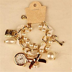 Women's Round Metal Chain Fashion Grand Pearl Bracelet Japanese Quartz  Watch (Assorted Colors)