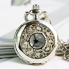 Women's Silvery White Dial Alloy Band Quartz Necklace Watch