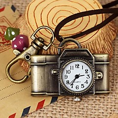 Unisex Camera-Shaped Round Dial Leather&Alloy Quartz Necklace /Keychain Watch Green Patina (1Pc) Cool Watches Unique Watches