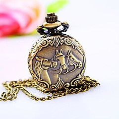 Women's Three Horses Dial Alloy Band Quartz Necklace Watch Cool Watches Unique Watches