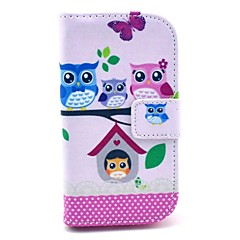 Owl Family Pattern PU Leahter Full Body Cover with Stand and Card Slot for Samsung Galaxy Trend Plus S7580/S7562