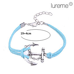 Lureme®Anchor Hook Pattern Leather Alloy Charm Bracelet