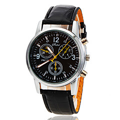 Men's Alloy Round Dial PU Band Quartz Analog Wrist Watch