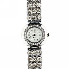 Diamanten runden Zifferblatt-Legierung Band Quarz-Armbanduhr der Frauen