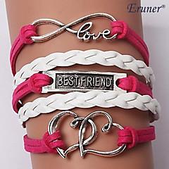 multicouches doubles charmes en alliage de coeur bracelets en cuir à la main