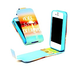 Never Stop Dream Vertical Flip  PU Leather Full Body Case with Card Holder for iPhone 4/4S