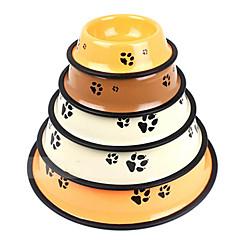 clássicas estampas da pata do cão de alta qualidade cão tigelas de ferro pintura skid de alimentos para animais e água para cães e gatos (cor