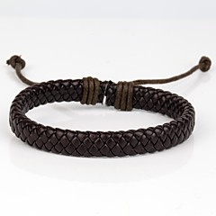 Comfortable Adjustable Men's Leather Cool Hard Bracelet Dark Brown Leather(1 Piece)