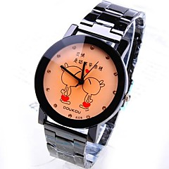 Men's Round Dial Kissing In Rabbits Steel Band Quartz Fashion Watch