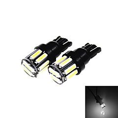 t10 5W 300lm 6500k 10 x SMD 7020 levou branco fresco lâmpada apuramento carro / luz lateral (12v / 2pcs)