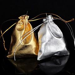 squar formade guld / silver tyg presentpåsar (1st) (2 färger)