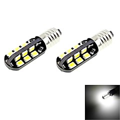 E10 2W 100lm 6000K 24-SMD 2835 LED White Light Car Bulbs (2pcs / DC 12V)