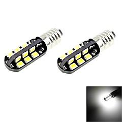 e10 2W 100lm 6000k 24 SMD 2835 LED branco lâmpadas de carro leve (2pcs / DC 12V)
