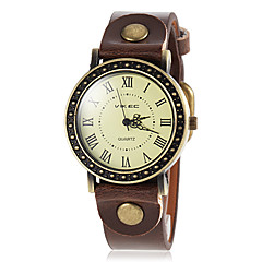 Women's Retro Roman Number Dial PU Band Quartz Wrist Watch (Assorted Colors)