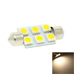36mm 6x5050 SMD LED 100lm 3000K Warm White Lights Festoon Dome Reading Map License Plate Light Bulb for Car (DC 12V)