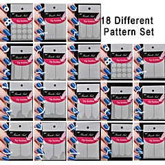 18 satt forskjellig mønster gjør mønster nail art verktøy