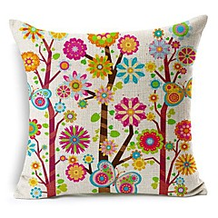 színes virág fa pamut / len dekoratív párna fedél