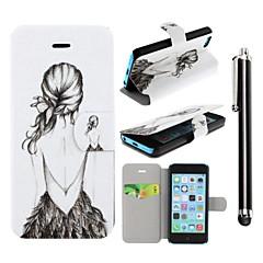 motif beauté sans dossier fille cuir PU cas de tout le corps avec support et un stylo stylet tactile pour l'iphone 5 / 5s / 5c