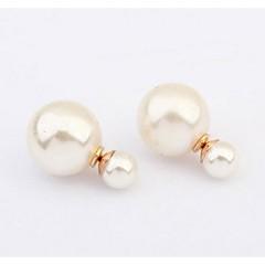 European Fashion Double Pearls Stud Earrings