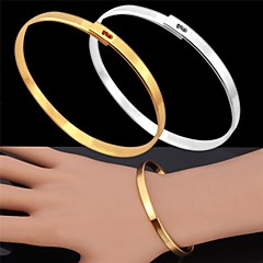 U7®Vintage Bracelet for Men 18K Real Gold Platinum Plated Simple Bangle Fashion Jewelry for Men/Women