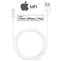 mfi gecertificeerde lightning 8-pins data sync en oplader usb-kabel voor iphone6 ​​6plus 5s 5c 5 ipad ipod kabel (100cm)