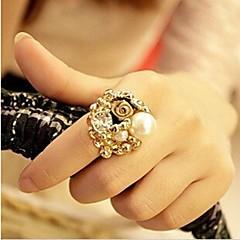 Luxury Retro Rose Pearl  Opening Ring