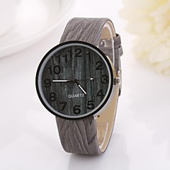 Women's Arabic Numerals Digital Round Table Pure Color Teak Strap  Watch C&D-349