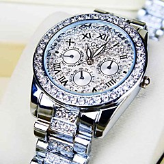 Women's Round Dial Diamond Steel Band Quartz Fashion Watch Cool Watches Unique Watches
