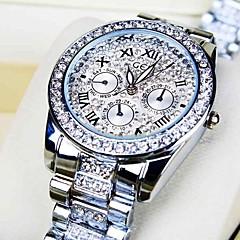 kvinnors rund urtavla Diamond stålband quartz mode klocka