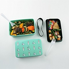 High Temperature Resistant Double Deck Lunch Box,Plastic 15×7.5×9.5 CM(6.0×3.0×3.8 INCH) Random Type