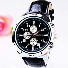 relógio seis agulha pu banda quartzo moda mostrador redondo três olhos dos homens (cores sortidas)