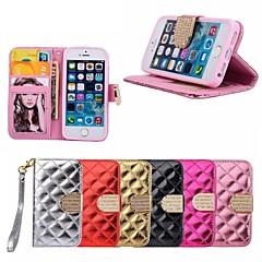 padrão de grade luxo pu couro caso de corpo inteiro com bling slots de fivela de diamante e cartão para o iphone 5 / 5s (cores sortidas)