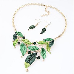 Women's New Foliage Necklace And Earrings Set