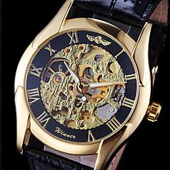 WINNER Hombre Reloj de Pulsera El reloj mecánico Cuerda Automática Huecograbado Piel Banda Negro Dorado