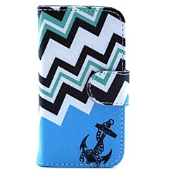 blauw anker patroon pu lederen tas en mini display stand met diamant stof plug voor iPhone 4 / 4s