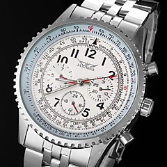 Men's Automatic Mechanical 6 Pointers Silver Steel Band Wrist Watch Cool Watch Unique Watch