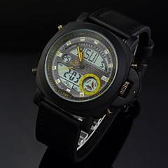 Herren-Sportuhr wasserdicht Multifunktions-Analog-Digital-Leder-Band-Armbanduhr (farbig sortiert)