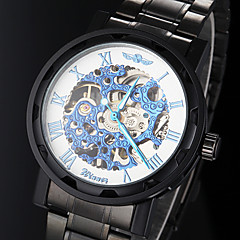 Men's Manual Mechanical Hollow Skeleton Blue Face Black Steel Band Wrist Watch (Assorted Colors) Cool Watch Unique Watch