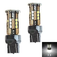 HJ 7443 10W 900LM 5500-6000K 30x2835 SMD LED White Light Bulb for Car Brake Light (12-24V,2 Piece)