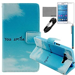 COCO FUN® Blue Sky Cloud Pattern PU Leather Case with Film and Stylus for Samsung GALAXY Grand Prime G530