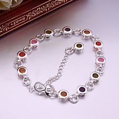 925 Silver Round Color Zircon Charm Bracelet (1PC)
