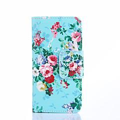 florescendo flores no azul padrão de couro pu caso de corpo inteiro com slots de cartão e ficar caso para samsung galaxy s5 mini-