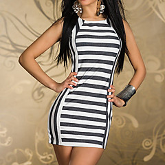 Elegant Lady Black and White Strips Spandex Night Club Uniform