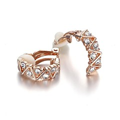 Arc-shaped Crystal  18K Rose/White Gold Plated Elements Rhinestone Clip-On Earrings