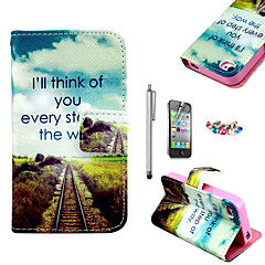 KARZEA™Future Road Pattern PU Leather Case with Screen Protector and Stylus and Dust Plug for iPhone 4/4S