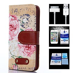 Peony Pattern Full Body Case+1 HD Screen Protector+1 USB Data Transmit and Charging Cable for iPhone 4/4S