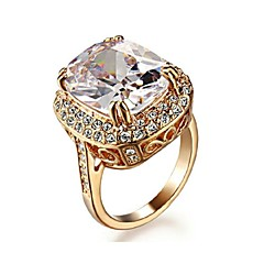 Big Four Claw 18K Rose Gold Plated Princess 6ct Cut Zircon Wedding Ring Austrian Crystals